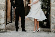 Bride And Groom Walking Wedding Shoes