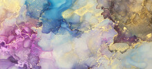 Abstract Blue, Violet And Gold Glitter Color Horizontal Long Background. Marble Texture. Alcohol Ink.
