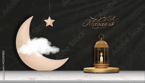 Fotografia, Obraz Islamic Podium with pink gold crescent moon, traditional islamic lantern, candle