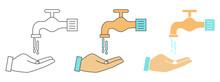 Washing Hands Design Vector. Clipart Cartoon Illustration. Black And White Outline Element
