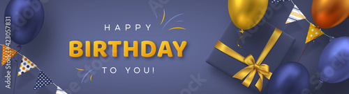 Photo Happy Birthday holiday banner for greeting cards