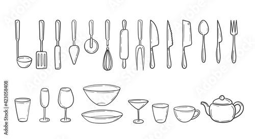 Canvastavla Set of kitchen cutlery in a hand-drawn sketch