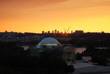 Sunset Over The Thomas Jefferson Memorial In Washington DC.