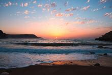 View Of A Cove At Sunrise, In Las Negras, Cabo De Gata-Nijar Natural Park, Almeria, Spain