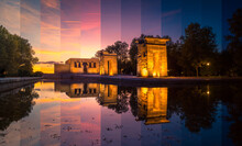 Old Egyptian Shrine Reflecting In Pure Water Under Bright Sky At Sundown In Madrid Spain