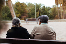 Back View Of An Unrecognizable Elderly Couple Sitting On A Park Bench