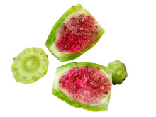 Delicious Prickly Pear Opuntia Cactus Fruit Cut Open To Reveal Colorful Juicy Center And Seeds