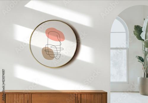 Obraz Circle Frame Mockup Hanging on the White Wall - fototapety do salonu