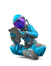 Astronaut Girl Using The Tablet