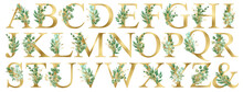 Watercolor Gold Floral Alphabet Set Collection With Green And Gold Eucalyptus Branches And Gold Line Leaves. Wedding Invitations, Baby Shower, Sublimation Design, Birthday, Other Concept Ideas.