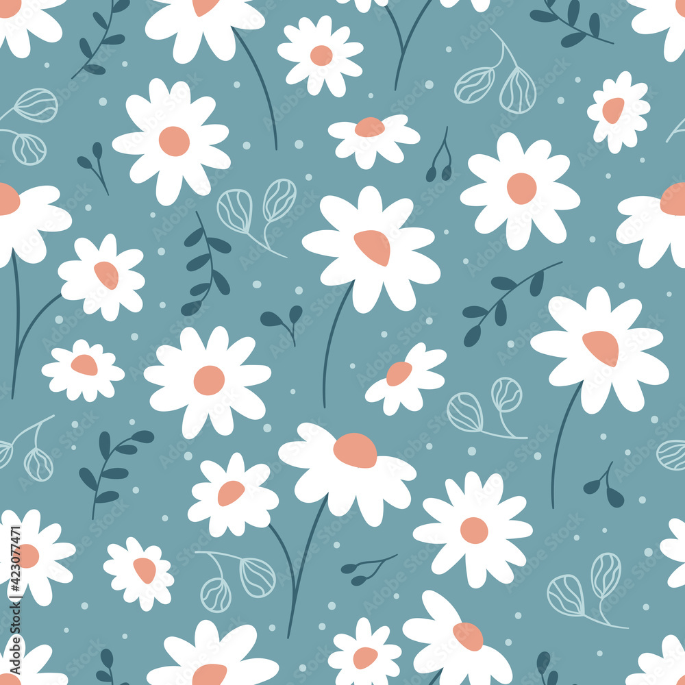 Fototapeta Floral seamless pattern with chamomile. Hand drawn doodle plants. Cute abstract daisy flowers. Ideal for fashion fabric, textile and print wallpaper.