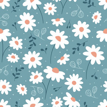Floral Seamless Pattern With Chamomile. Hand Drawn Doodle Plants. Cute Abstract Daisy Flowers. Ideal For Fashion Fabric, Textile And Print Wallpaper.