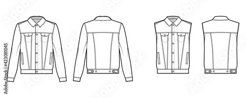 Foto Set of Standard denim jacket, vest technical fashion illustration with oversized, flap welt pockets, button closure, classic collar