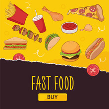 Bright Yellow Fast Food Banner Template. Burger, Hot Dogs, Pizza, Etc. For Cafe Menus And Social Media Sales