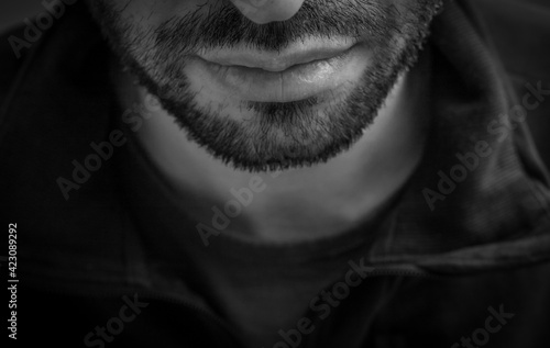 Fototapeta Black and white caucasian male face obraz
