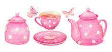 Watercolor Pink Tea Set. Polka Dot Teapot, Cup, Sugar Bowl