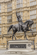 Statue Of Richard Coeur De Lion (1856) - Equestrian Statue Of Richard I Of England Is Located In Old Palace Yard Outside Palace Of Westminster. London, UK.