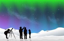 Aurora Northern Lights With Snow At Night Silhouette People Looking At Stars