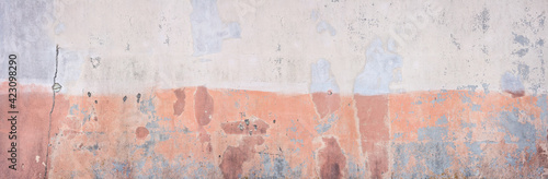 Fototapeta Big size grunge wall background or texture. Old painted and cracked palaster. Industrial style. obraz