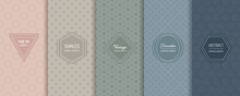 Vector Minimalist Seamless Patterns Collection. Set Of Abstract Geometric Textures In Trendy Pastel Colors, Powdery, Green, Blue. Elegant Modern Minimal Labels. Design Template For Decor, Banner, Ads