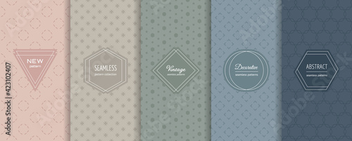 Fototapeta Vector minimalist seamless patterns collection. Set of abstract geometric textures in trendy pastel colors, powdery, green, blue. Elegant modern minimal labels. Design template for decor, banner, ads obraz
