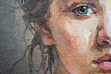 A Fragment Of A Painting Depicting A Young Girl. Blue-eyed Girl With A Pigtail. Oil Painting On Canvas.