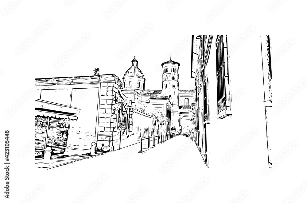 Fototapeta Building view with landmark of Ravenna is the  city in Italy. Hand drawn sketch illustration in vector.