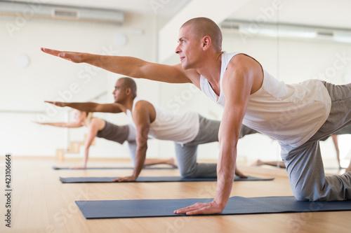 Fototapeta Positive man practicing Balancing Table pose (Dandayamna Bharmanasana) to improve balance, coordination and core strength during group yoga training.. obraz