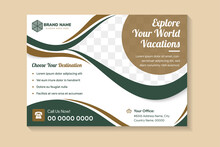 A4 Size Vacations Flyer Template Design With Horizontal Layout Use Green And Gold Element Colors.white Background With Space For Photo Like Eye Shape.