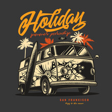 Original Vector Illustration In Vintage Style. An Old Tourist Van Painted With Flowers On A Background Of Palm Trees And A Retro Sunset.