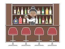 バーで働く黒人女性バーテンダーのイラスト