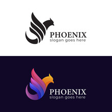Mythology Phoenix Bird Gradient And Silhouette Logo Illustration Two Version