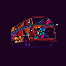 Original Vector Illustration Of An Old Tourist Van Painted With Flowers In Neon Style.