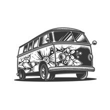 Original Monochrome Vector Illustration Of An Old Travel Van Painted In Flowers.
