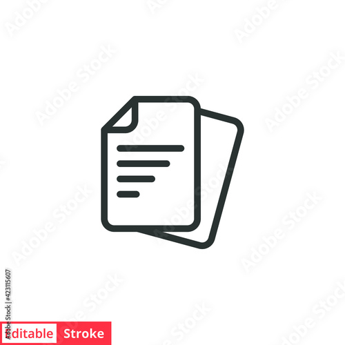 Fototapety, obrazy: Document line icon. Simple outline style. Note, information, paper, sheet, pictogram, contract, copy concept. Page file, list text vector illustration isolated for web design. Editable stroke EPS 10.