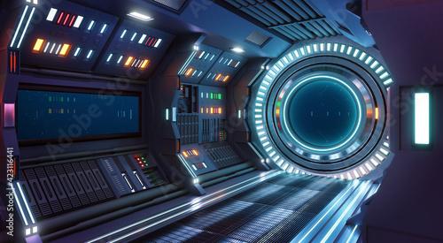 Fotografie, Obraz Corridor spaceship Interior. 3d rendering.