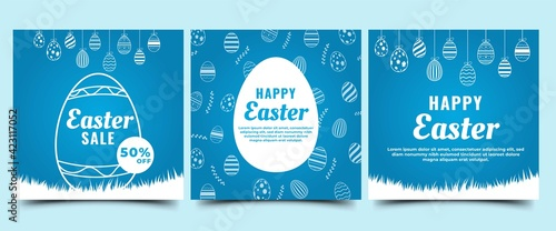 Set of Easter square banner design. Blue background with egg illustration. Suitable for social media posts, greeting cards, banners, and web internet. Vector design isolated.