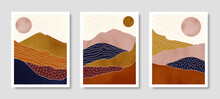 Set Of Abstract Landscape Of Mountains With The Sun In A Minimal Trendy Style. Vector Background In Terracotta Colors
