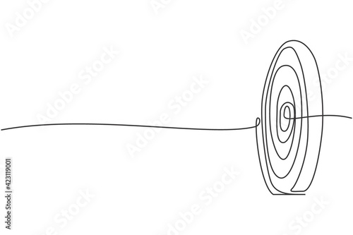 Obraz na plátně Continuous one line drawing of circle target dartboard