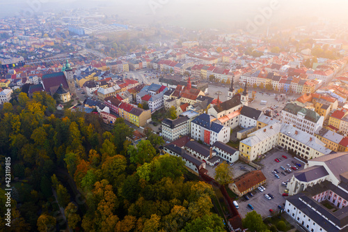 Canvas-taulu Scenic aerial view of historical centre of Jihlava in autumn gauze overlooking belfries of St