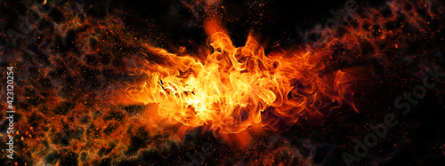 Fotografie, Obraz 抽象的な火が爆発する