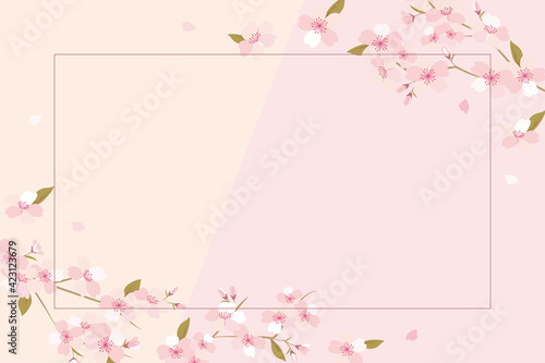 Foto Vector background illustration with cherry blossom flowers