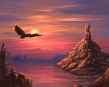 Fantasy Castle On The Rock