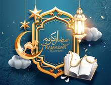 3d Ramadan Greeting Card With Quran