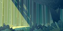 Horizontal Forest Landscape. Sunlight Breaks Through The Dark Forest. Beautiful Illustration Of Nature.