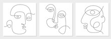 One Line Drawing Abstract Face. Modern Continuous Line Art Man And Woman Portrait, Minimalist Print. Vector Illustration