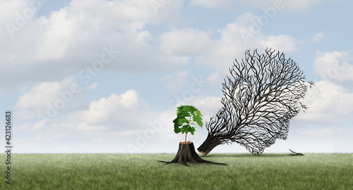 Fotografie, Obraz New life concept and growth or emerging renewal idea with 3D illustration elements