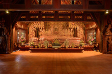 The Wooden Reclining Buddha Of Wat Luang Khun Win In Chiangmai Province