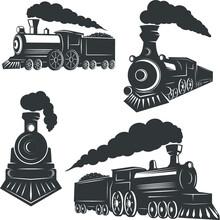 Train Steam Locomotive Vector Illustration2