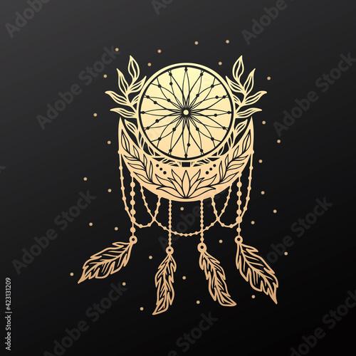 Fotografiet Moon crescent dream catcher floral mandala